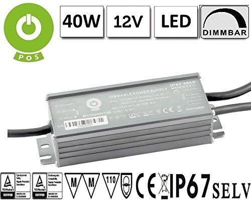 LED transformador regulable (1-10v, PWM, Resistance) PFC 12v 3,3a 40w (mchq 40v12b-sc) ip67