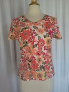 SIZE-M-34-00-STUDIO-WORKS-Rounded-V-Neck-Floral-Orange-Pink-Yellow-Top