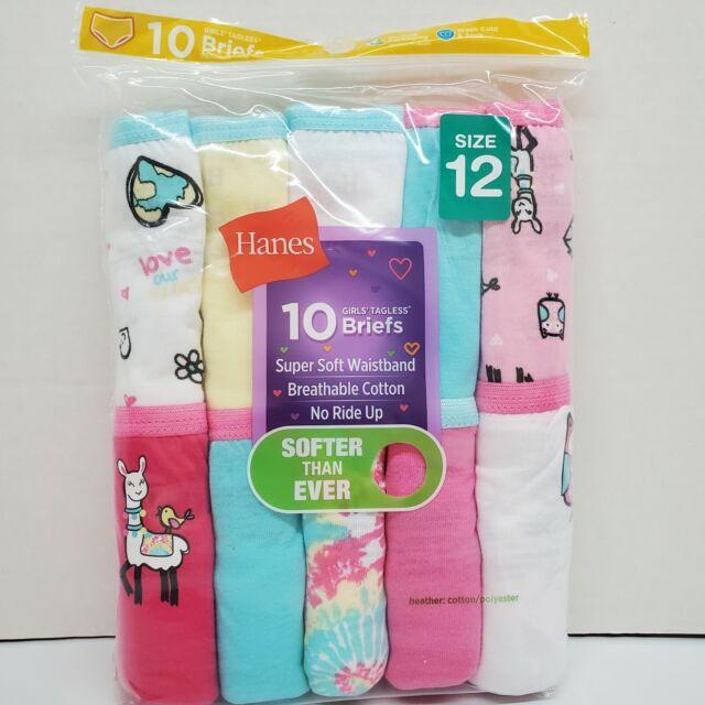 Hanes Girl's Sz 12 Cotton 10 Pack Owl Tagless Briefs Underwear Underpants