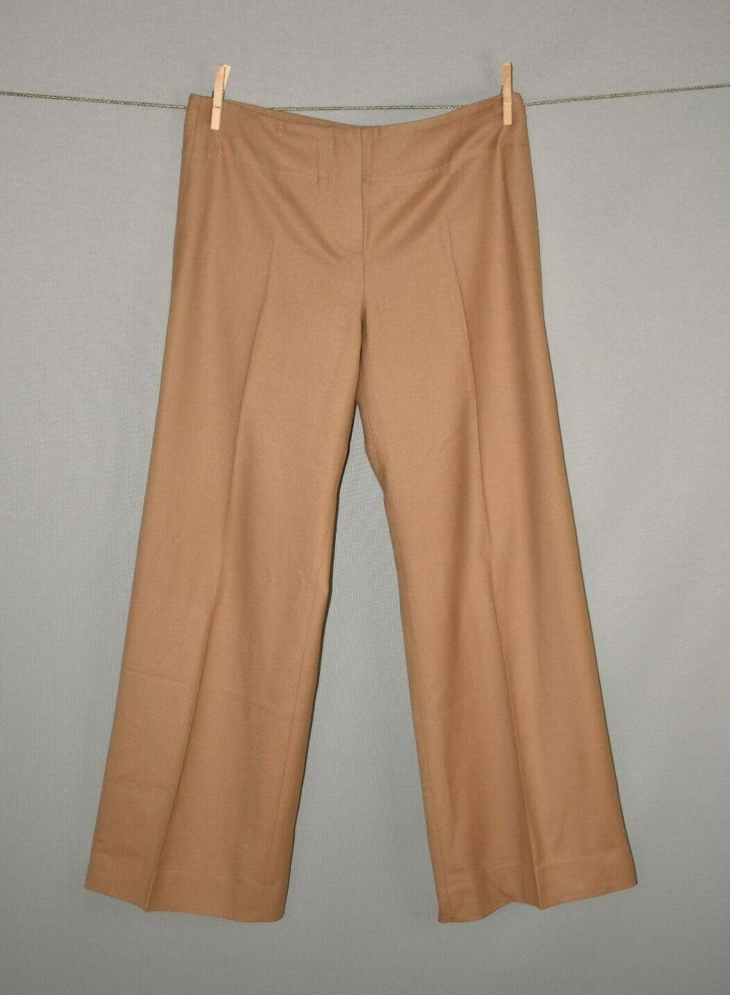 CHLOÉ  Tan Khaki Wide Leg Wool Trouser Pant FR 42   US 10