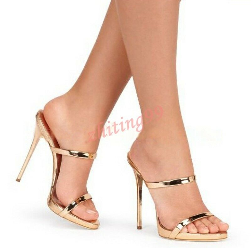 2016 Summer Mule Slides femmes Open Toe Stiletto Heel Sandals Platform Slippers