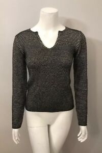 Armani-Collezioni-Black-Gray-Ribbed-Striped-Sweater-Size-4