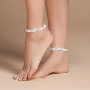 Details About Women Ankle Bracelet Silver Anklet Foot Jewelry S Beach Chain Diamond 2 Row