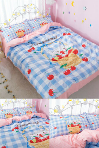 3PCS Cinnamoroll Cotton Bedding Sheet Quilt Cover Duvet Covers Sheet Pillow Case