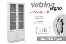 da 72x170x26 cm Bianco Mobile Ermes bianco con vetrina a 2 ante in legno