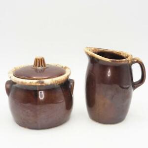 Vtg Set of Hull Brown Drip Glaze Creamer Pitcher and Lidded Sugar Bowl