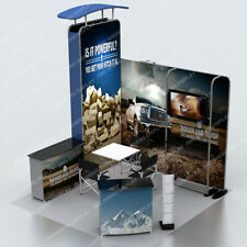 10ft Tension Fabric Trade Show Booth Set Pop Up Display Counter Monitor Stand