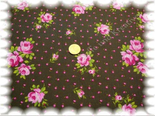 Cosima Popeline Mini Blumen und Blumensträuße braun 50 cm Webware Stenzo Stoff