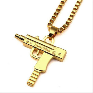 Uzi gun necklace pendant gold with chain mens womens uzi pistol ebay image is loading uzi gun necklace pendant gold with chain mens aloadofball Image collections