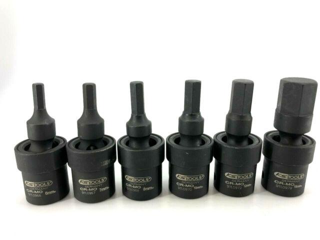 """KS Tools 1/2"""" fuerza-articulación esférica-bit-vaso-frase 6-tlg hexágono interior 6mm-19mm"""