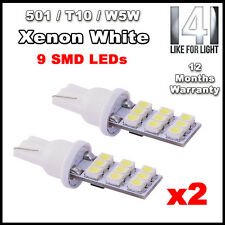 2 X 9 SMD LED 501 T10 W5W Sidelight / Number Plate / Interior bulbs XENON WHITE