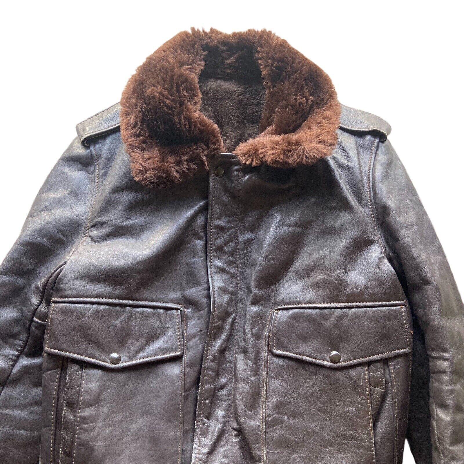 Vintage 60's G-1 Leather Bomber Flight Fur Jacket - image 4