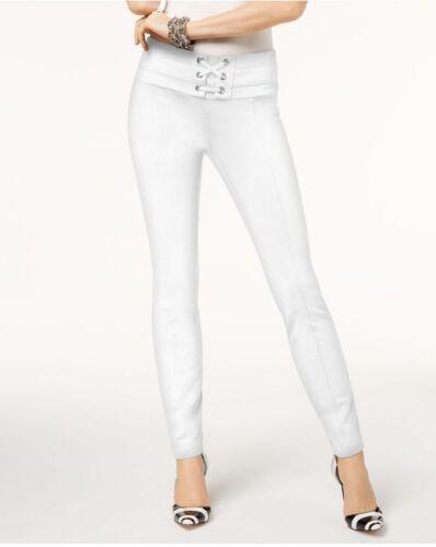 INC International Concepts Lace-Up Skinny Leg Regular Fit Pants White Sz 14