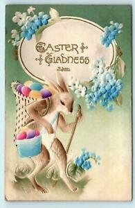 Dressed-Bunny-Rabbit-with-Basket-of-Eggs-Antique-Airbrushed-Easter-Postcard-p-22