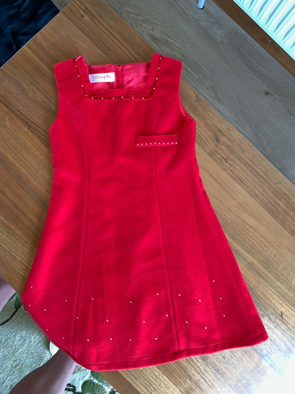 Oomph Red Velvet Cute Girls Dress, Fancy Occasions and Special Days