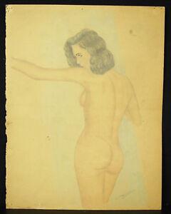 Giscard-Studie-eines-Akt-Frau-Rueckseite-um-1930-Zeichnung-Original-Naked-Woman