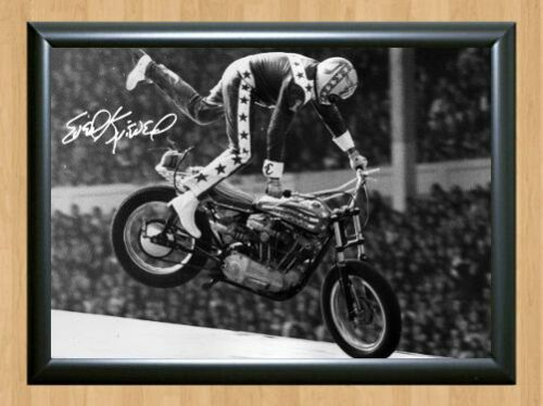 Evel Knievel Harley Robert Craig Daredevil Signed Autograph A4 Poster Print 3