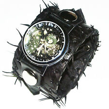BLACK Leather Watch Wrist band Bracelet Steampunk GOTHIC-Mechanical-45mm wide