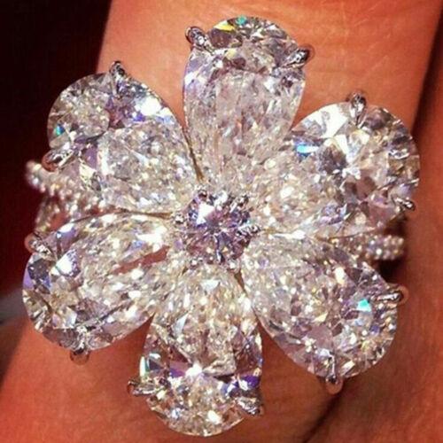 Eg /_ Femme Breloque Fleur Zircone Anneaux Fiançailles Main Bijoux Cadeau Dist