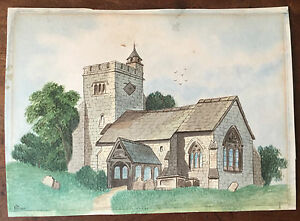 c1840-Yorkshire-Church-watercolour-drawing