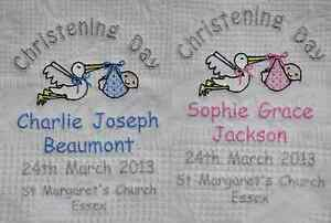 Personalised Baby Christening Shawl Blue//Pink with Silver Stork Design Gift