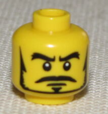 LEGO NEW MINIFGURE HEAD WITH BLACK MUSTACHE AND BEARD PIRATE CASTLE FACE