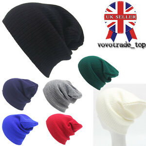 UK Women Mens Winter Warm Knitted Hat Oversized Slouch Skateboard ... 0e765c4b68f4