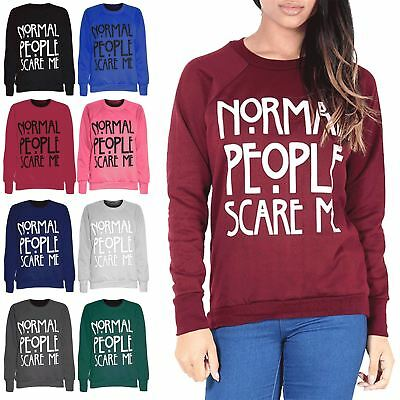 Womens Jumper Ladies Sweatshirt Normal People Scare Me Print Knitted Sweater Top