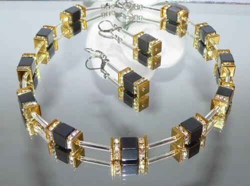 2er Schmuckset Halskette Ohrringe Hämatit Würfel Cube schwarz Strass gold 155b