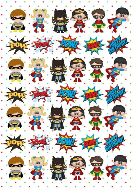 39 icing cupcake cake toppers decorations edible Super heros slang pow birthday
