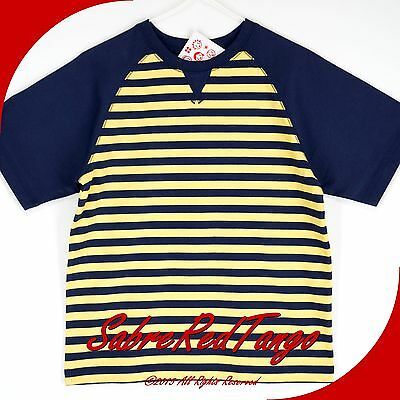 NWT HANNA ANDERSSON STRIPE SWEDISH TRAIL TEE SHIRT WARM SUN YELLOW NAVY 130 8