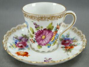 Carl Thieme Dresden Hand Painted Floral & Gold Demitasse Cup & Saucer Circa 1901