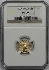 2006 Gold Eagle $5 Tenth-Ounce MS 70 NGC 1/10 oz Fine Gold