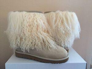 65dfb85a551 Details about UGG CLASSIC SHORT MONGOLIAN SHEEPSKIN CUFF SAND BOOTS US 10 /  EU 41 / UK 8.5