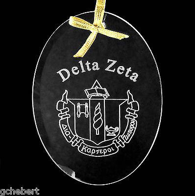Delta Zeta, ΔZ, Ornament/Sun Catcher Beveled Oval Crystal Name & Crest