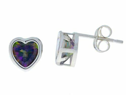 14Kt White gold Mystic Topaz 6mm Heart Bezel Stud Earrings
