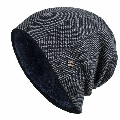 Men Women Winter Warm Beanie Hat Warm Knit Thick Fleece Lined Caps Cashmere Gift