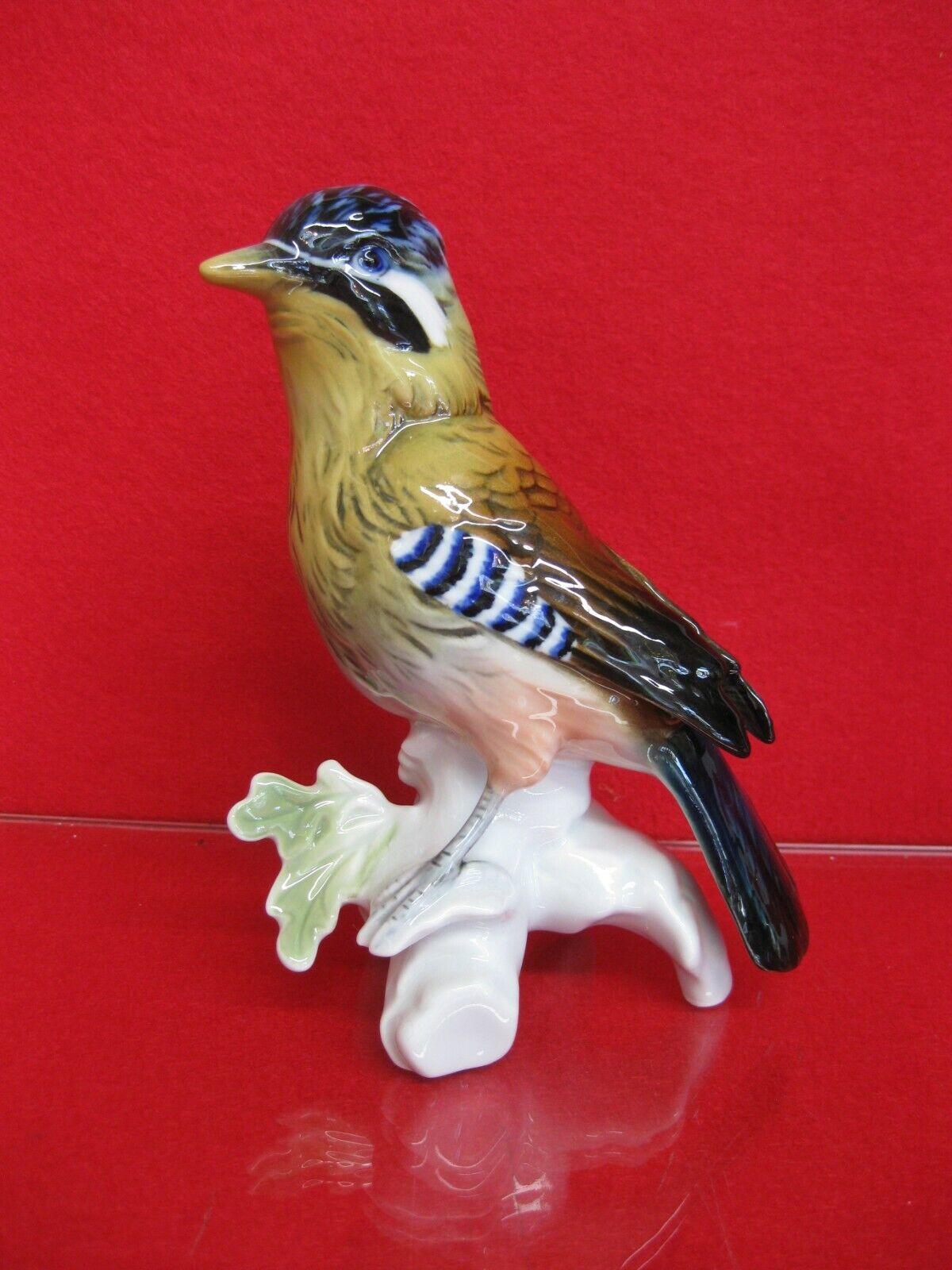 Karl Ens porcelaine oiseau figurine peinte à la main excellent état Queue Geai chasse chasseur