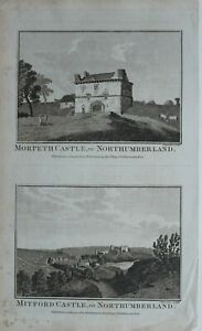 c1786-ANTIQUE-PRINT-MORPETH-CASTLE-NORTHUMBERLAND-MITFORD-castle