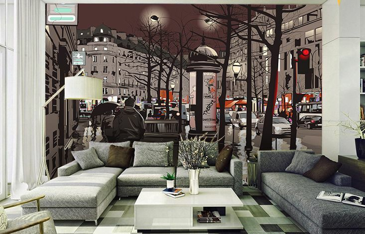 3DCity At Night Illustration Paper Print Wall Decal Wall Deco Indoor Wall Murals