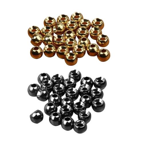 MagiDeal 50pcs Fliegenbinden geschlitzt Tungsten Nymph Kopf Ball Bead Sin