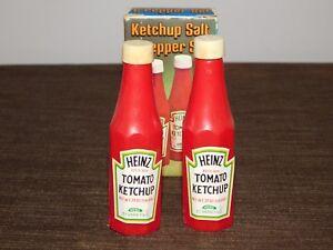 VINTAGE SALT & PEPPER SHAKERS PLASTIC HEINZ  TOMATO KETCHUP NEW UNUSED IN BOX