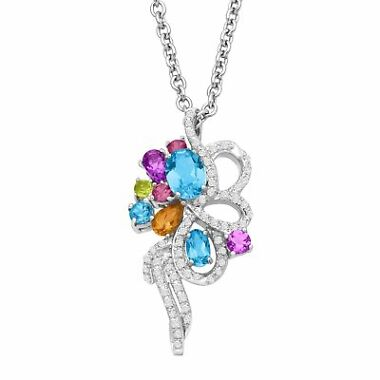 2 1/8 ct Natural Multi-Stone & 1/4 ct Diamond Bouquet Pendant