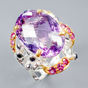 Handmade23ct-Natural-Ametrine-925-Sterling-Silver-Ring-Size-8-R119627
