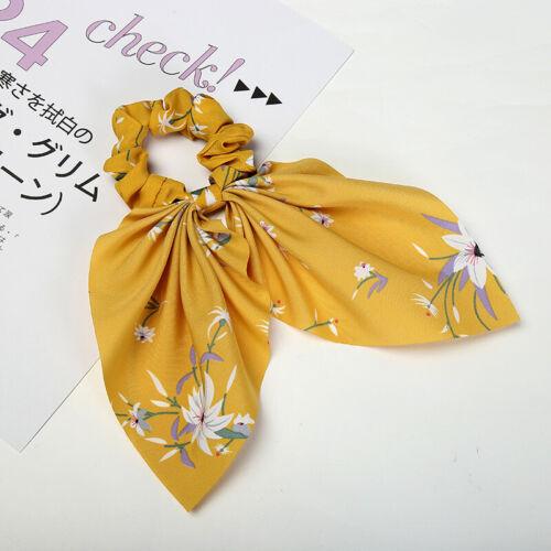Women Hair Rope Band Ponytail Holder Flower Stripe Hair Scarf Scrunchy Tie 1PC