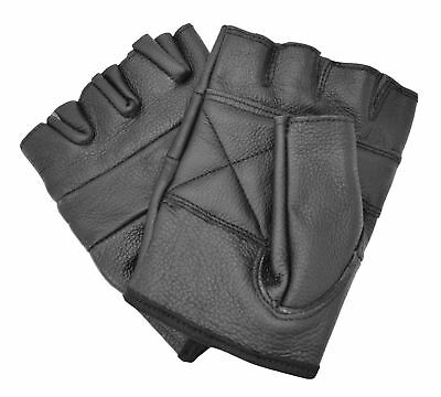 Quality Leather Gloves Conical Studs Unisex Fingerless Biker Punk Rock Metal