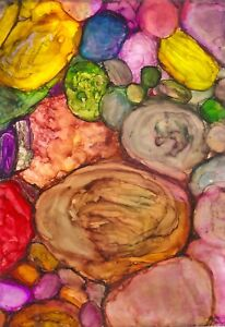 ACEO-Pebbles-Stones-Rocks-Pinkish-Alcohol-Ink-Painting-Art-Penny-StewArt
