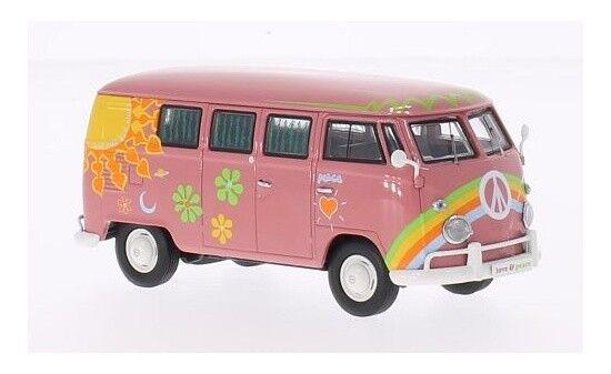 13851 - prämie classixxs vw t1 bus - dunkelRosa - flower - power - bus - 1 43