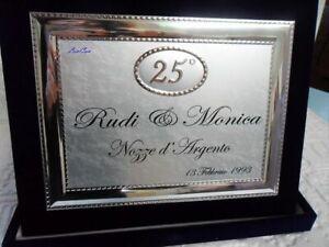 Anniversario Di Matrimonio Nozze Dargento.Targa Ricordo 25 Anniversario Di Matrimonio Nozze D Argento