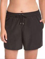 Black 14 16W 1X Lane Bryant Plus SWIM SHORT Bikini Tankini Swimsuit Bottom
